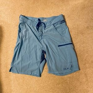 HUK Blue Performance Fishing Board Swim Shorts